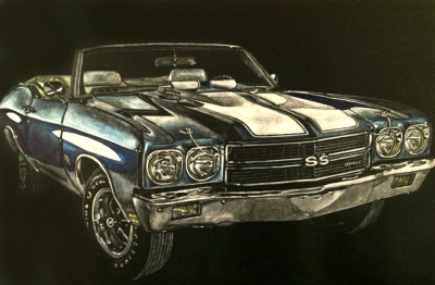 kendall king, Scratchboards, commission, chevelle, car
