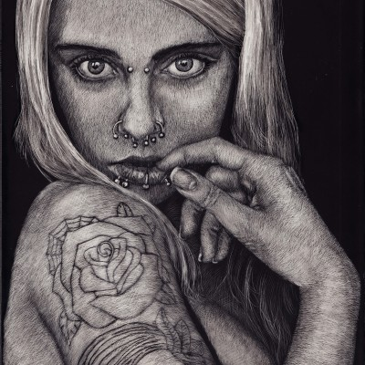 portrait, art, scratchboard, scratchart, tattoo