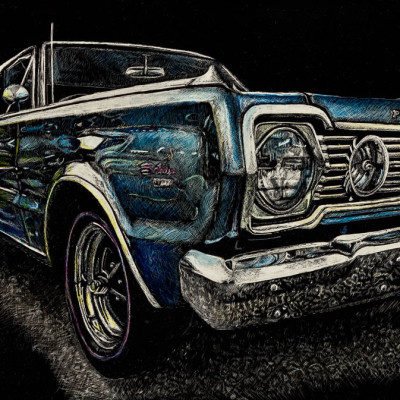 car, plymouth, kendall king, scratchboard, portrait, other,