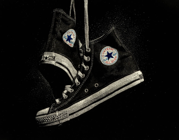 kendall king, scratchboard, portrait, other, converse, shoes, still life