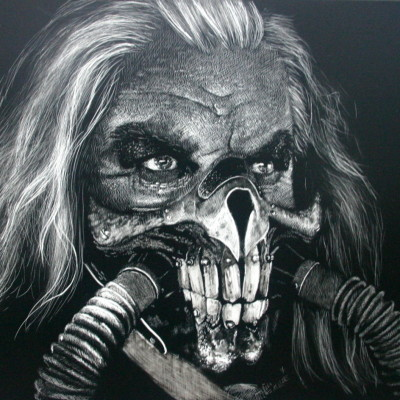 portrait, mad max, immortan joe, portrait, kendall king, scratchboard